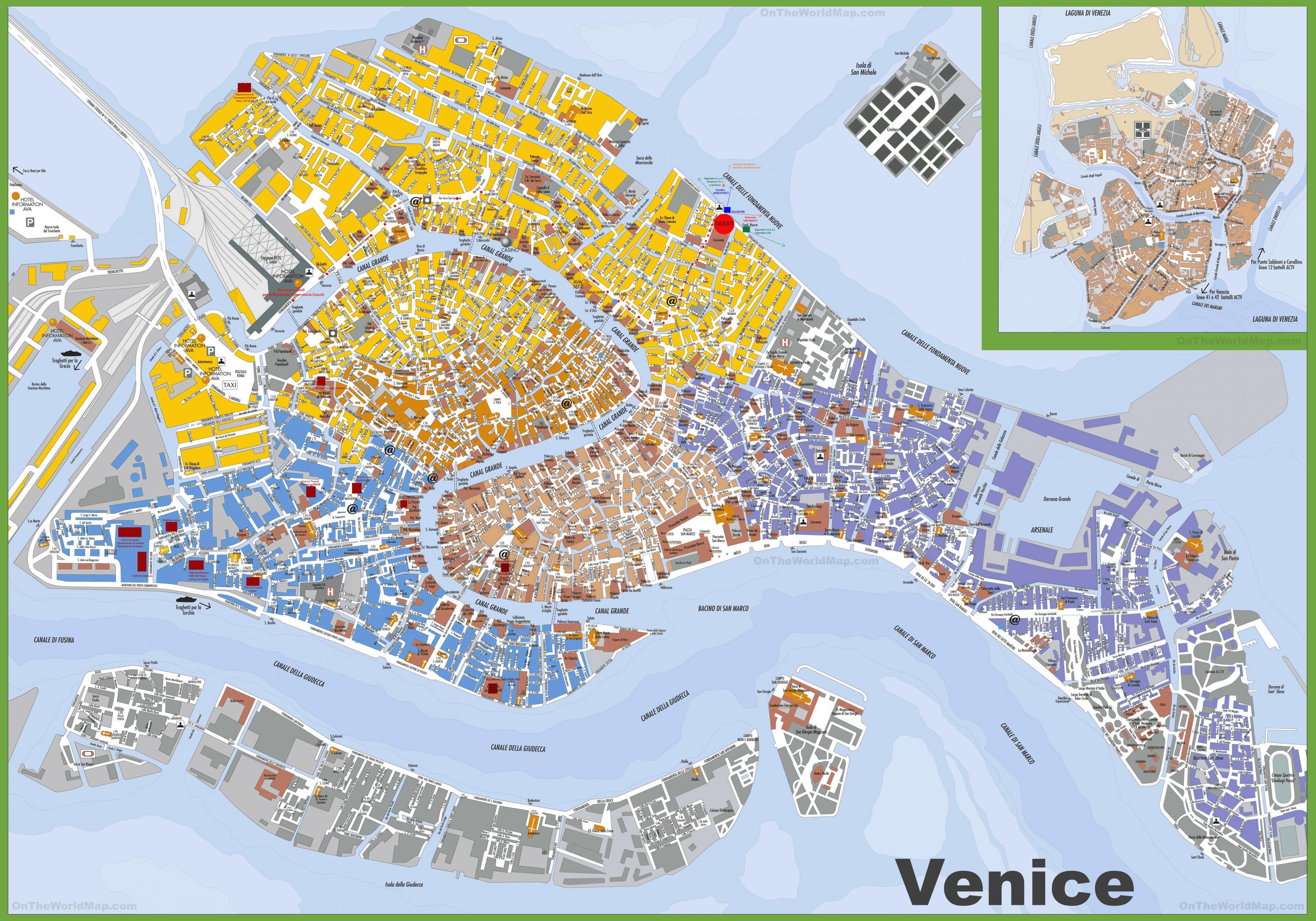 Venice City Map Venedig Stadt Karte Italien