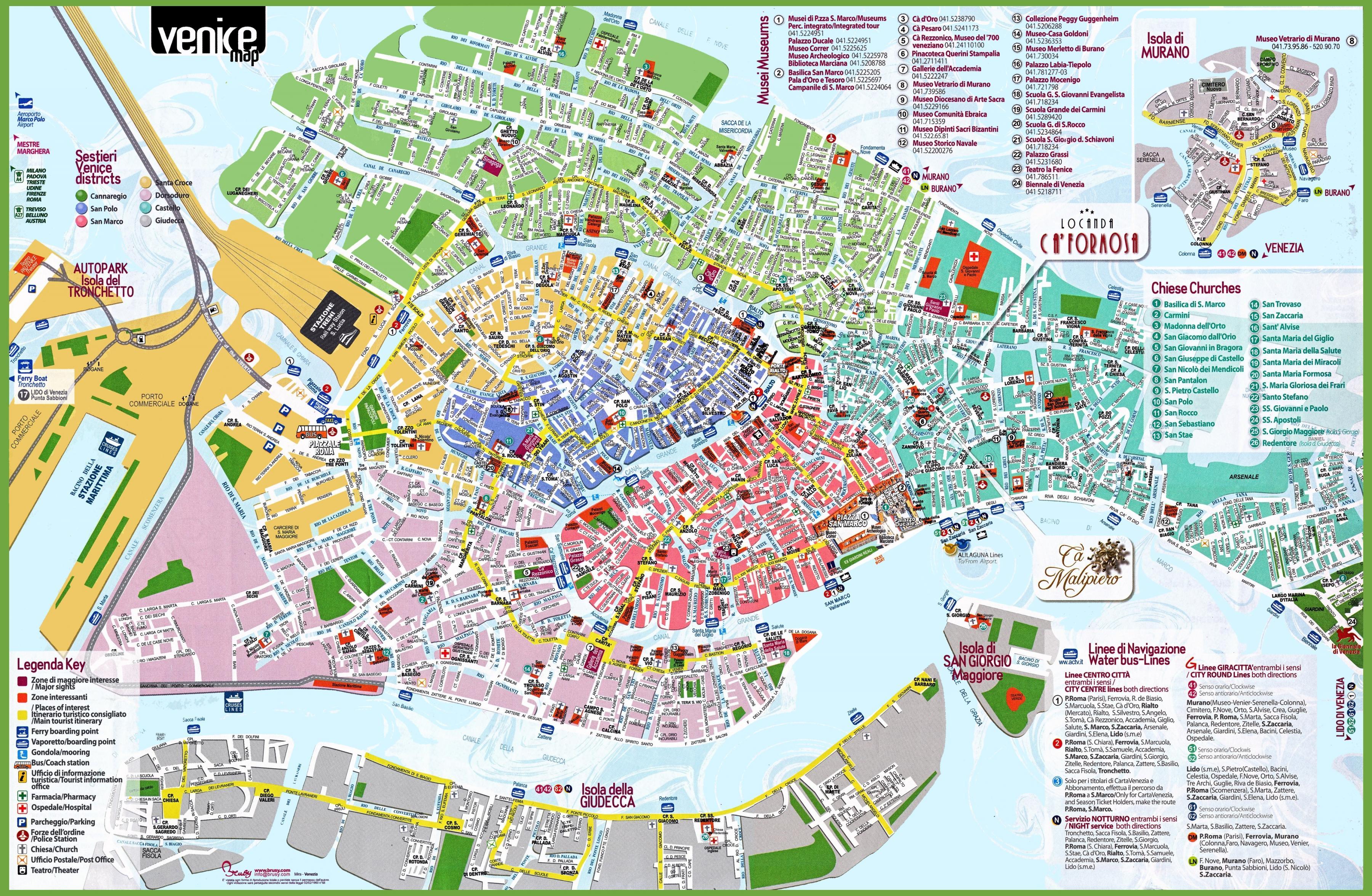 Venedig Sites Anzeigen Venedig Sehenswurdigkeiten Karte Italien